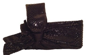Bags By Pinky Shiny Snakeskin Look Black Clutch