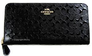 Coach Coach Signature Debossed Patent Leather F54805 Accordion Zip Wallet