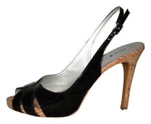 Kelly & Katie Patent Leather Cork Stiletto Slingback Peep Toe Black/ cork Sandals