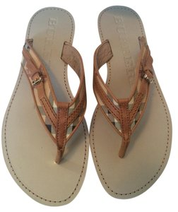 Burberry Aldermary Haymarket Flip Flops Check Saddle Brown Sandals