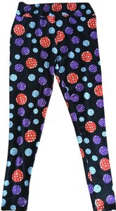 LuLaRoe Lularoe TC Black Leggings With Multi-Colored Circle Print (Tall & Curvy) Leggings