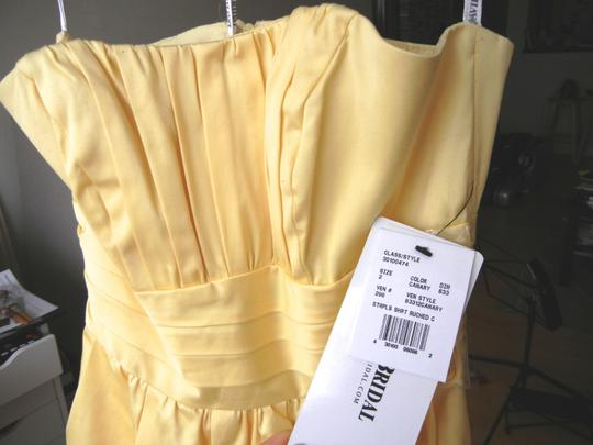David's Bridal Canary Sateen Strapless With Ruching Dress