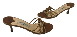 Jimmy Choo Topstitching Stacked Wood Heels Made Italy Brown all leather slip on strappy Italian E36.5 Mules