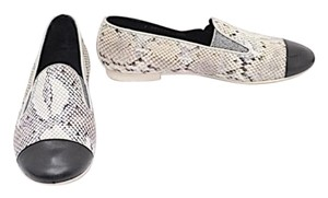 Chanel Slip On Snakeskin Black, Grey & White Flats