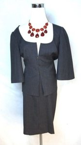 Trina Turk Feminine Skirt Suit, 3/4 flare arm, slate gray wool