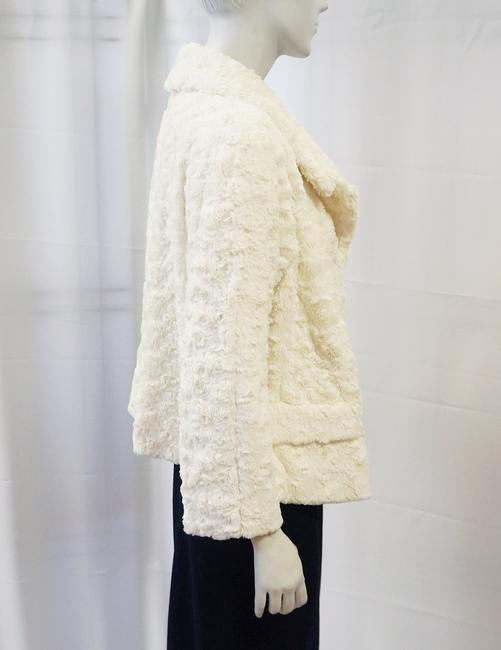 Zenobia New White Fluffy Soft Faux Fur Open Front Coat Medium Ivory Jacket