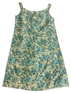Tara Jarmon short dress Cream w/ blue/green Floral Print Slik on Tradesy
