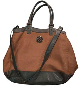 Tory Burch Satchel in Straw/tourquoise Leather