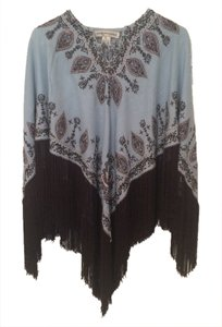 Tanja Pignatelli Embroidered Beaded Fringe Hem Boho Cape
