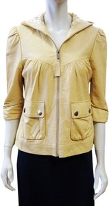 Madison Marcus 3/4 Sleeve Hooded Leather Zip Small Beige Leather Jacket