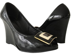 Tory Burch BLACK PATENT LEATHER Wedges