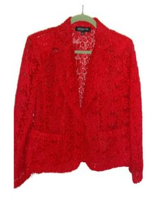 Jones New York Lace Jacket Top red