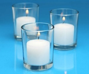 Clear 72 Votive Holders and 72 Candles Freeship Reception Decoration