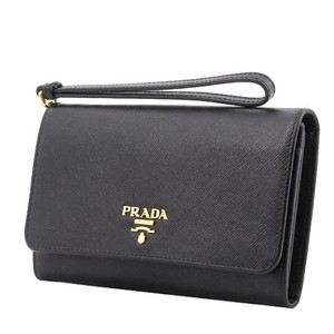 Prada Prada Black Saffiano Textured Leather Wristlet Wallet Bag