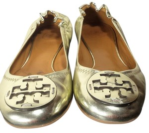 Tory Burch Patent Leather Monogram Mettallic Gold Flats