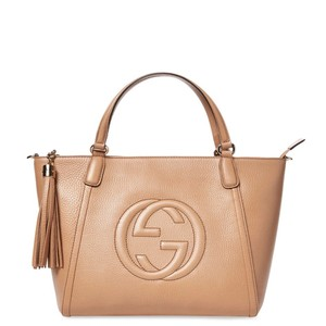 Gucci Leather Monogram Tassel Tote Satchel in Rose Beige