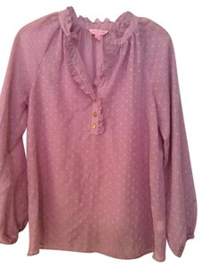 Lilly Pulitzer Long Sleeve Ruffle Top lavender