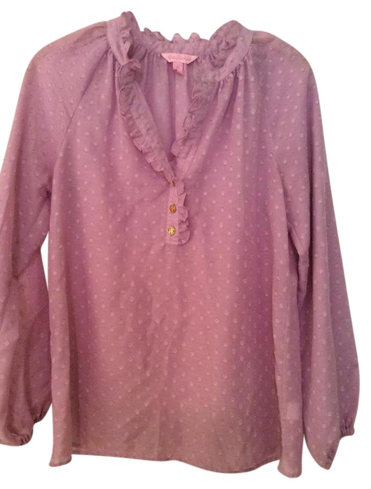 f63663c7b4c590 Lilly Pulitzer Lavender Elsa Long Sleeve with Textured Swiss Dots Blouse