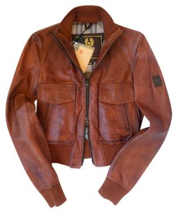 Belstaff Leather Bomber Brown Leather Jacket