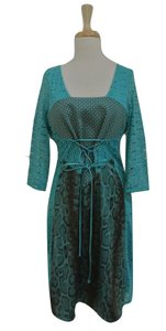 Save The Queen Python Printed Lace 3/4 Sleeve Lace Up Dress