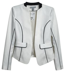 H&M Ivory white with black piping suit jacket