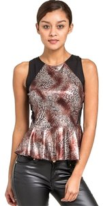 Other Metallic Peplum Top Bronze