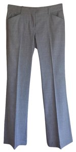 Theory Striped Pinstripe White Max C Wool Trouser Pants Gray
