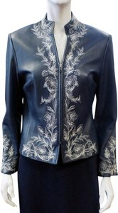 St. John Marie Gray Leather Zip White Floral Embroidery Trim 2 Small Blue Leather Jacket