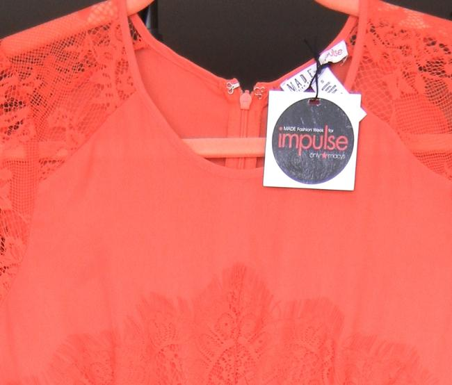 Macy's short dress Bright Coral Lace Orange Red Coral Lace Neon Spring on Tradesy