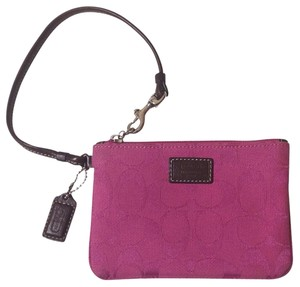Coach Signature Jacquard Collection Wristlet in Pink & Brown
