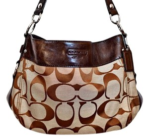 Coach Leather Monogram Hobo Bag