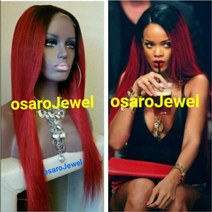 osaro OsaroJewel celebrity Red ombre straight lace front wig