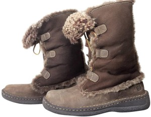 Børn Winter Leather Shearling Born Brown Boots