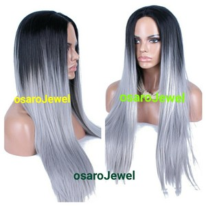 osaro Jewel silver grey gray lace straight lace front wig