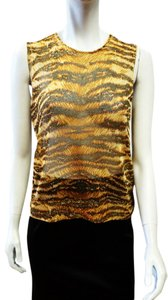 Dolce & Gabbana & Sheer Metallic Brown Animal Tiger Print Shell Small Top Gold