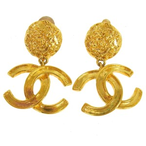 Chanel Chanel Vintage Gold Logo Cluster CC Charm Hoop Earrings