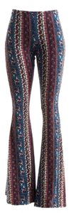 Other Palazzo Vintage Wide Leg Full Length Bell Super Flare Pants Blue Multi