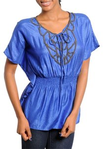 Beaded Neckline Top Blue