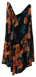 dressbarn Plus-size Floral Maxi Skirt Navy and Peach Pink