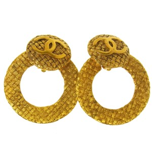 Chanel Chanel Vintage Gold Textured CC Large Hoop Earrings