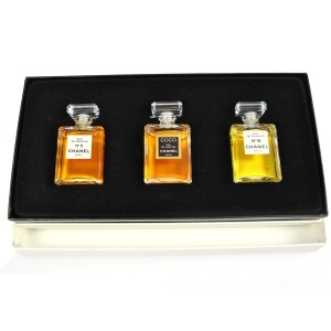 Chanel Chanel No. 5 RARE Three Piece Classic Chanel Mini Fragrances in Box