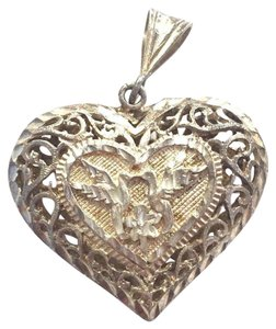 Sterling Silver Diamond Cut Dove Design Heart Pendant