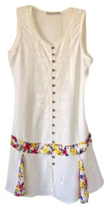 Raya Sun short dress Off white with emroidery and colorful patches on Tradesy