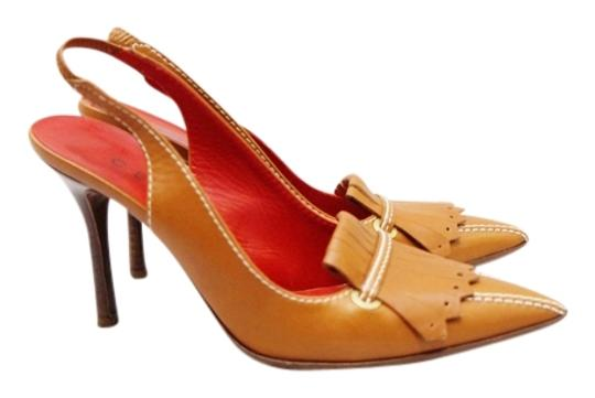 Céline Brown Leather Pointed Toe Slingback Heel Sandals Classic 37.5 Tan Pumps