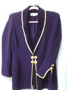 St. John St.john, beautiful purple with gold trim / more like an eggplant color,evening jacket.