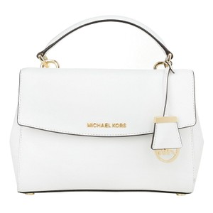 Michael Kors Ava Saffiano Leather Satchel in Optic White