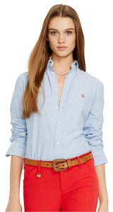 Ralph Lauren Oxford Classic Preppy Button Down Shirt Blue