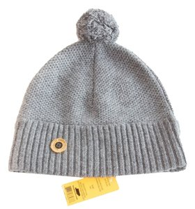 Tory Burch TORY BURCH Charcoal Gray Moss Cashmere Stitch Pom Pom Hat