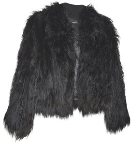 INC International Concepts Faux Fur Rock And Roll Black Jacket