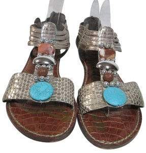 Sam Edelman Bling Sterling Jeweled Metallic Silver with Turquoise Stones Sandals